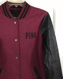 fe41cd0ff110d Details about PINK Victoria's Secret Women's Faux Leather Burgundy Black  Varsity Jacket Size S