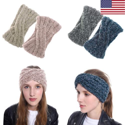 US Women/'s Crochet Headband Knit Cross Knot Hairband Ear Warmer Winter Headwrap