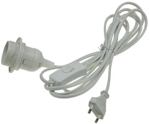 3,4m lang E14 oder E27 schwarz o Netzkabel mit Schalter /& Fassung weiß DIY