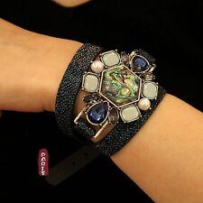 Bracelet Ceinture Cuir Coquille Bleu Perle Retro Original Soirée Mariage CT5