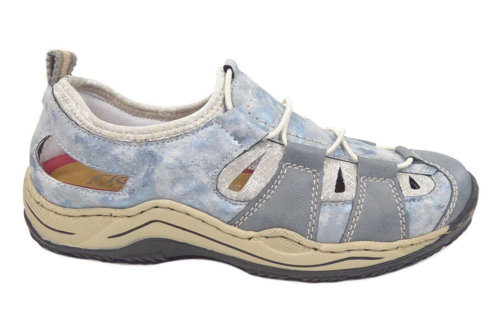 Rieker Damenschuhe Halbschuhe Slipper durchbrochen in Blau L0561-12