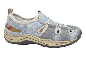 Details zu Rieker Damenschuhe Halbschuhe Slipper durchbrochen in Blau L0561 12