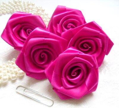 """Grosgrain Pink 3D Rose Flower Ribbon 1/"""" 25 mm"""