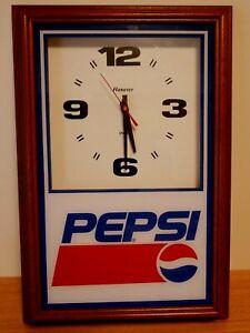 Vintage Pepsi Cola Wall Clock Hanover Quartz Battery Wood Frame Tested Working
