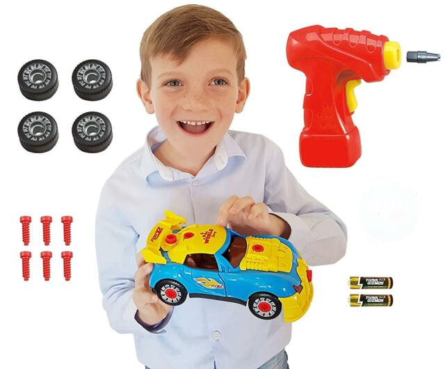 Primary Color Red Yellow Blue Kids Car Building Toy Kit w Battery Operated Drill