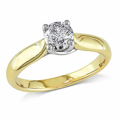 Amour 3/4 CT TW Diamond Solitaire Engagement Ring 14k Yellow Gold