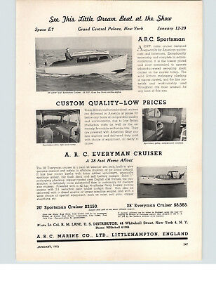 Confident 1951 Paper Ad Arc Marine Co 20' Sportsman 28' Everyman Cruiser Motor Boat Delicacies Loved By All Other Collectible Ads Advertising