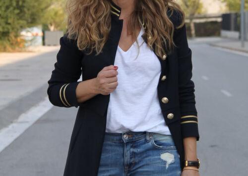 Blue Bloggere Navy Zara Collar 8098 Frock Small 743 Frakke Mandarin Nye S C57SSxw6q