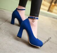 Hot Ladies Faux Suede Round Toe Block Heels Ankle Strap Pumps Dress Shoes Size 6