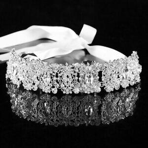 1de05a8e1db Details about Handmade Hairband Ribbon Silver Sheet Wedding Bride Chain  Strass Head Cocar Hair