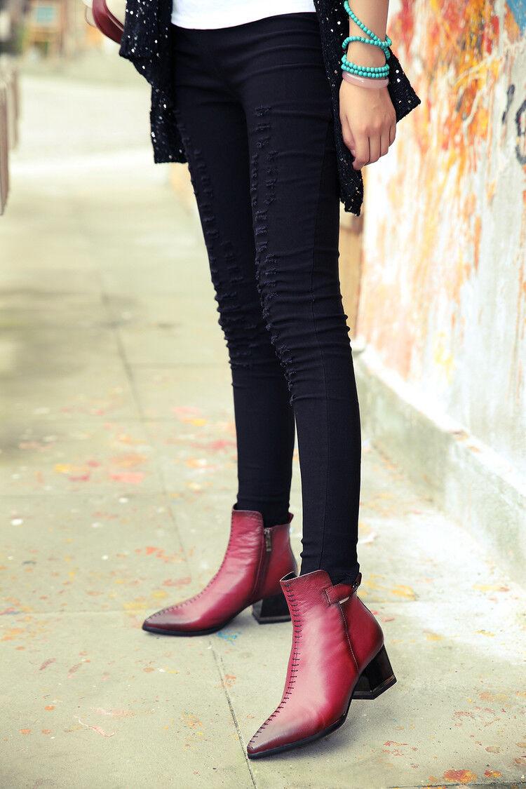 Rétro Femme Chunky Talons Cuir Bride Cheville Bottes à Lacets Bout Pointu Chaussures
