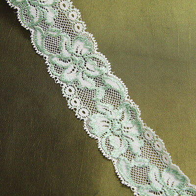"1 1/2"" Wide Cream & Mint Green Stretch Lace Trim"