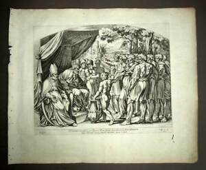 Details about Eleazar and Joshua Sharing the Earth Promise Original  Engraving Nicolas Chapron