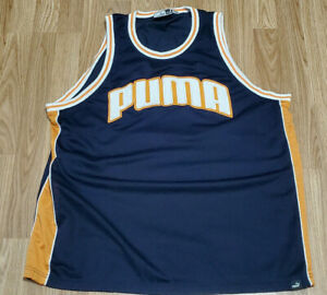 Details about Vintage Puma Basketball Jersey Orange White Puma Size Adult  XXL Puma Shirts Tank