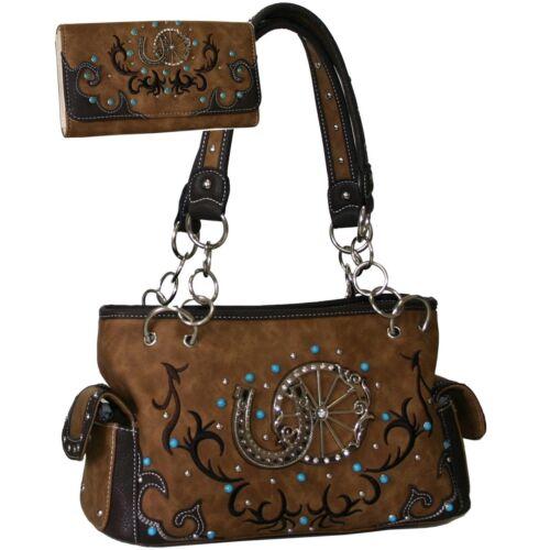 Gold Rush B501SET-TAN Western Studded Shoulder Bag with Matching Wallet Tan