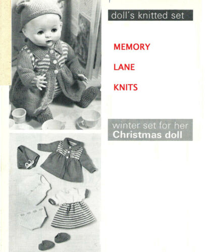 "Coat Hat Dress Vest Pants Shoes 12 Vintage 20/""  Doll Clothes Knitting PATTERN"