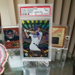 2016 Topps Chrome Green Refractor PSA 9 Mint #82/99 Corey Seager RC