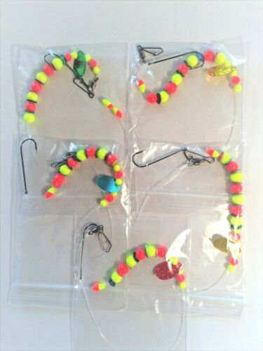 5 BRAND NEW PLAICE END TRACES ASSORTED COLOURS with sequins and attractor blade