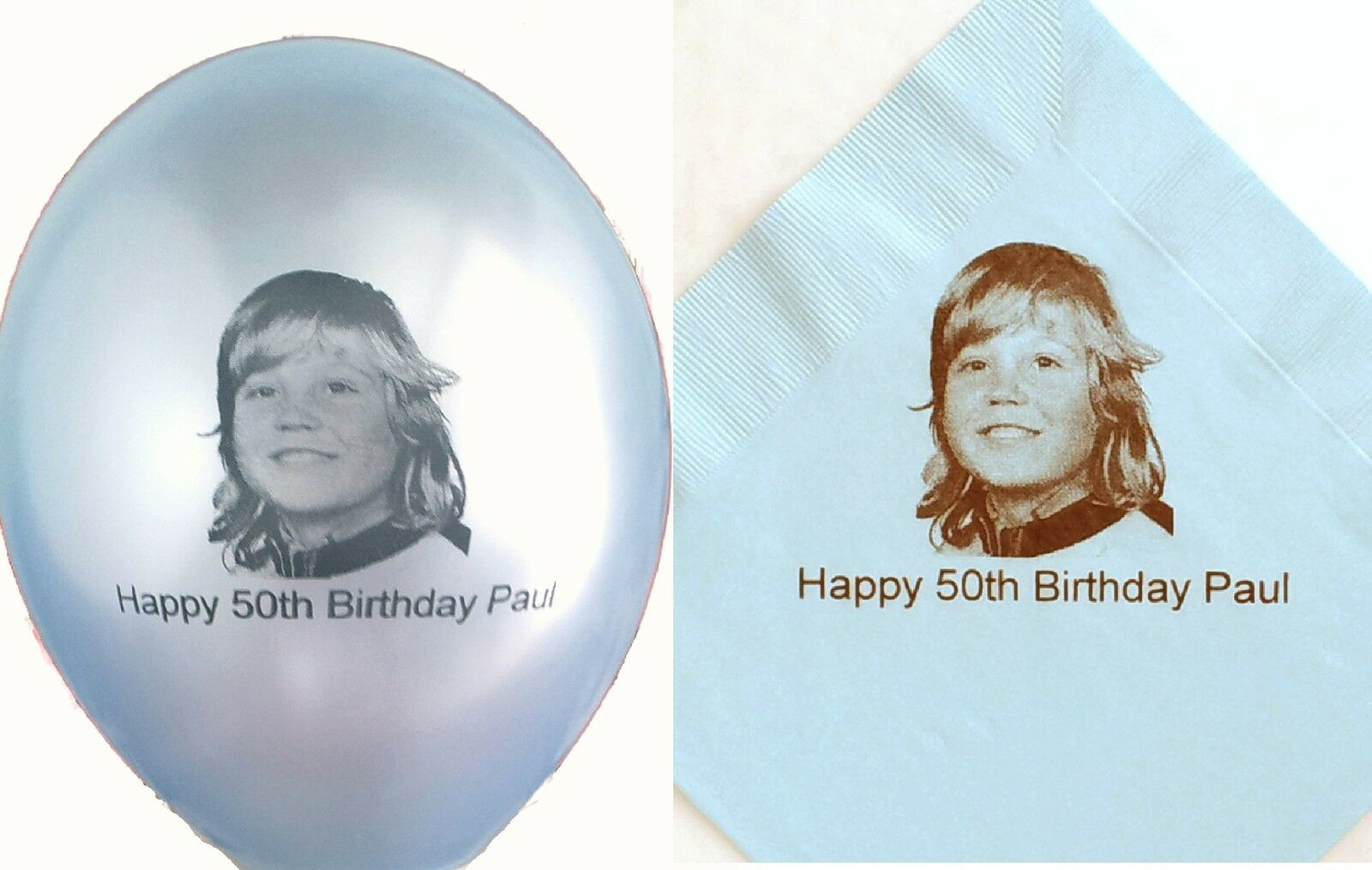 20 20 20 personalised photo balloons with  100  paper napkins 7e7e94