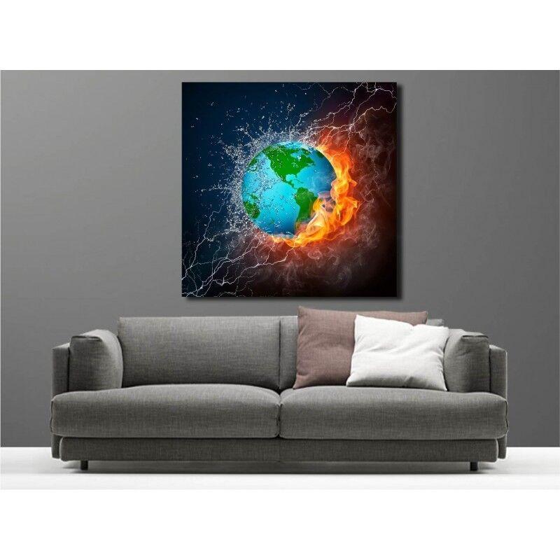 Gemälde Stoff Deko Quadratisch Planet Wasser Feuer 3768737