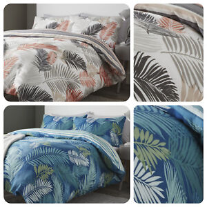 Fusion-TROPICAL-Large-Leaf-and-Striped-Reverse-Duvet-Cover-Bedding-Set