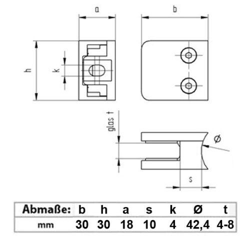 Edelstahl Glashalter V2A Glasklemme Klemmhalter 30x30x18mm Anbau rund Ø 42.4 mm