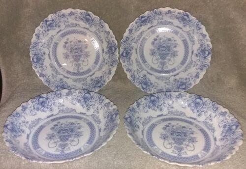 "4 Arcopal HONORINE SOUP Glass Bowls 7/"" France Scalloped Blue Rose Floral"