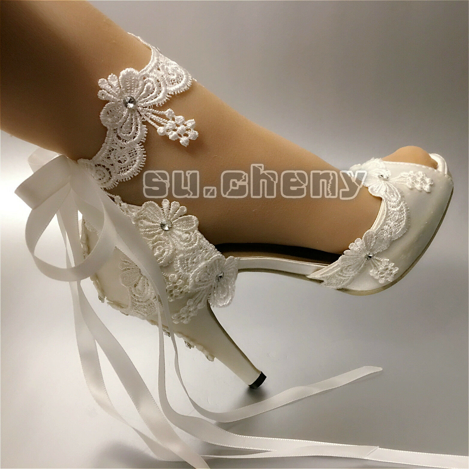 Su.cheny Ribbon anklet blanc blanc blanc ivory satin open toe heel Wedding Bridal chaussures Taille 667ba0