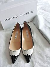NEW $735 MANOLO BLAHNIK*BLACK&WHITE BROUGE LEATHER BALLET FLATS SHOE*37.5 7.5