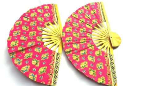 2 PCS HAND FAN THAI ELEPHANT COLOR PRINTED  CRAFTED BAMBOO WOODEN FOLDING FABRIC