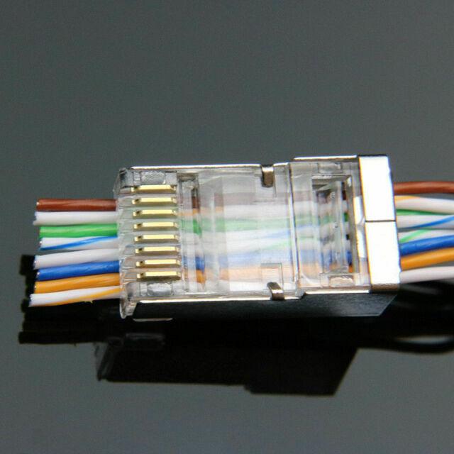 50pcs EZ RJ45 Connector Cat6 Cat5e Network Plug Stp 8P8C Gold Plated Shielded