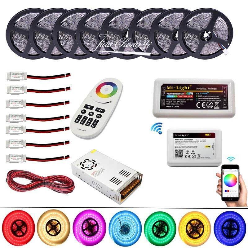 5050 rojo, verde, azul y blancoo tira de LED con control remoto WiFi Controller +2.4G Radio Frecuencia + amplificador de potencia Led