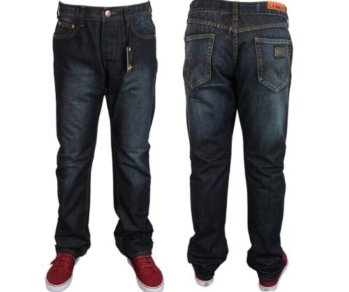 LEBREVE Da Uomo Affusolati Fit Denim Jeans Blu Pantaloni Casual Reiter tutte le taglie 30 a 40
