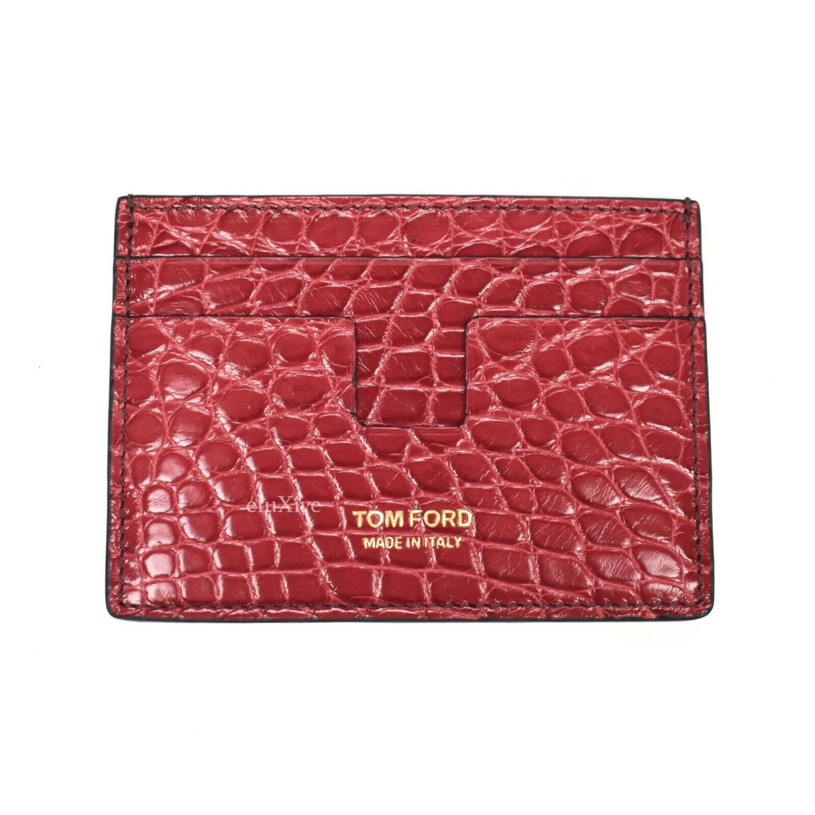 NWT k+ TOM FORD Exotic Alligator Leather Card Holder Case Wallet Red AUTHENTIC