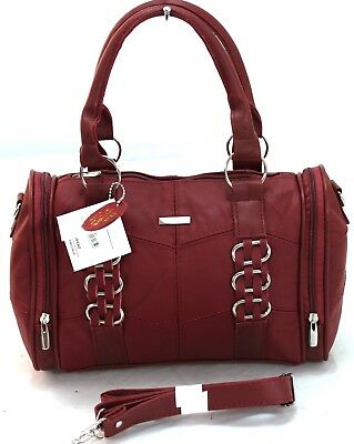 Ladies Women Lorenz Cowhide Real Leather Tote Barrel Shoulder Bag Handbag Brown