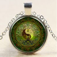 Vintage Tree of Life Cabochon Tibetan silver Glass Chain Pendant Necklace #136