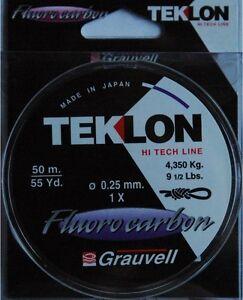 Nylon-Grauvell-Teklon-Fluorocarbon-50m-diametre-25-100-resistance-4-35kg