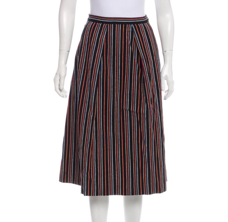 350 Nikki Chasin Embroidered Stripe A-Line Skirt