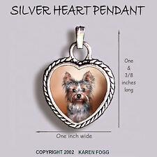 YORKSHIRE TERRIER Puppy Yorkie -  Ornate HEART PENDANT Tibetan Silver