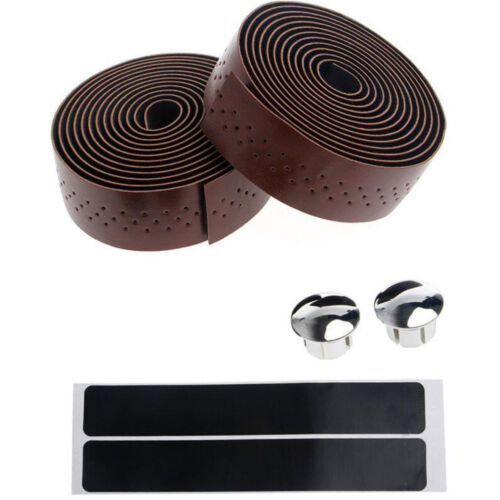 1Pair Bike Cycling Road Bike PU Handlebar Tape Faux Leather Wrap+2 Bar Plug #HN8