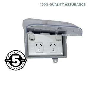 Weather-Proof-Double-15-AMP-Power-Point-In-WATER-Enclosure-Lock-Clear-Lid-D-GPO