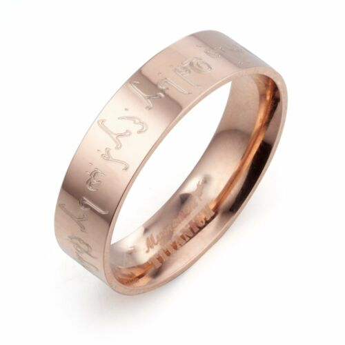 Polish Flat Court Groom Bride Personalized Rose Gold Titanium Ring 4mm Sz G to W