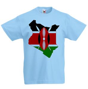 Kenya Kid/'s T-Shirt Country Flag Map Top Children Boys Girls Unisex