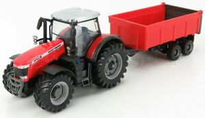 BURAGO 1/50 MASSEY FERGUSON | 8740S TRACTOR WITH TIPPING TRAILER | RED