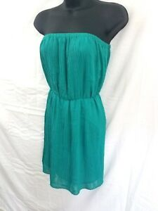 DMBM-Womens-Size-Small-Accordion-Pleated-Aqua-Green-Dress-Strapless-Sun-Short