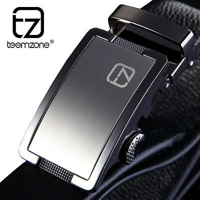 Men Genuine Leather Cowhide Brand Black Waist Belt Automatic Buckle Size 32-40''