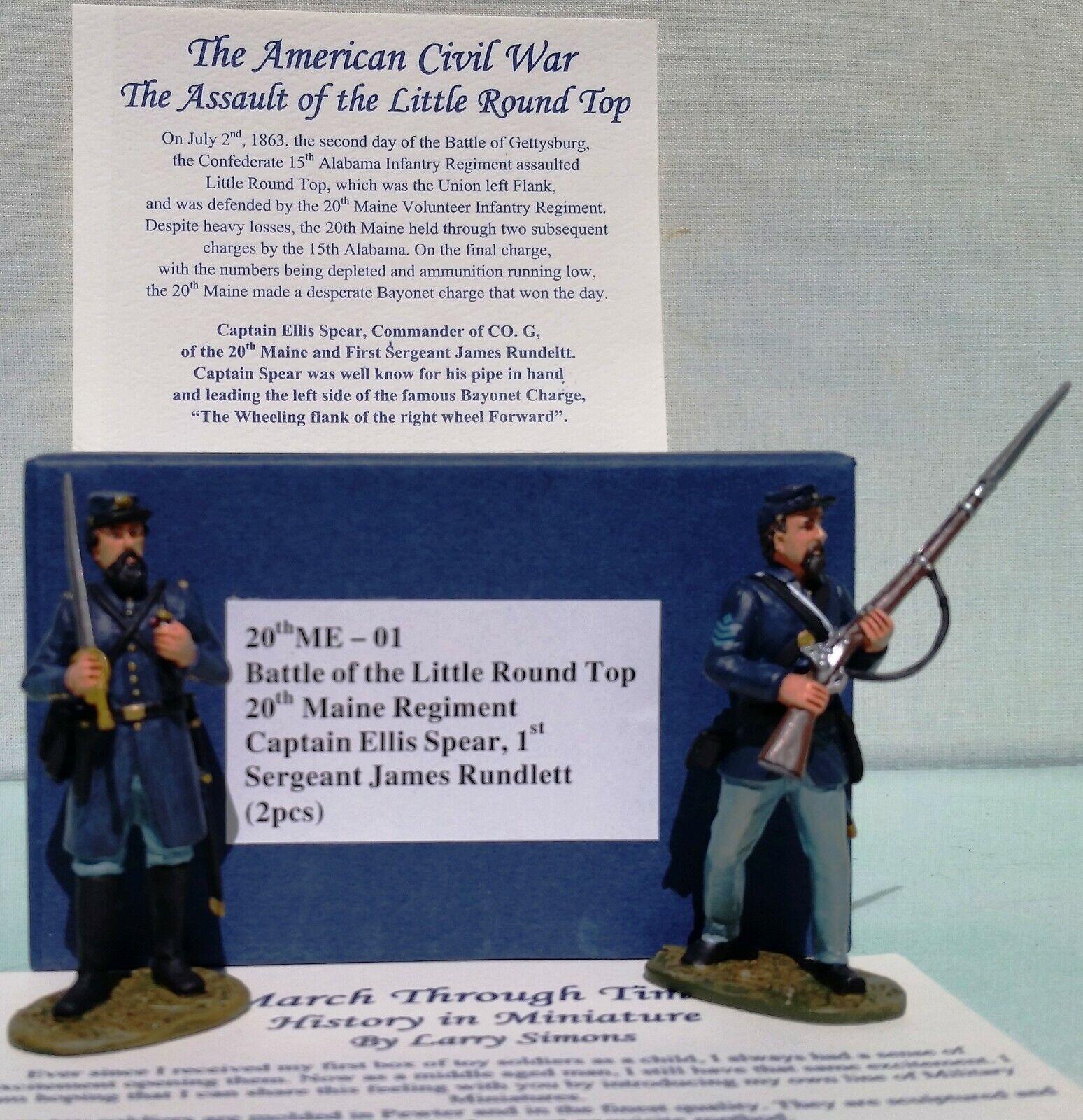MARCH THROUGH TIMES CIVIL WAR ME-01 20TH MAINE CAPT. SPEAR & 1ST SERGEANT MIB