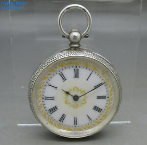 ANTIQUE-ORNATE-SOLID-SILVER-OPEN-F-KEY-WIND-CYLINDER-POCKET-FOB-WATCH-38mm-c1890