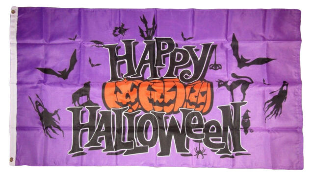 3x5 Happy Halloween Purple Jack o Lanterns Ghost Bats Flag 3'x5' Brass Grommets