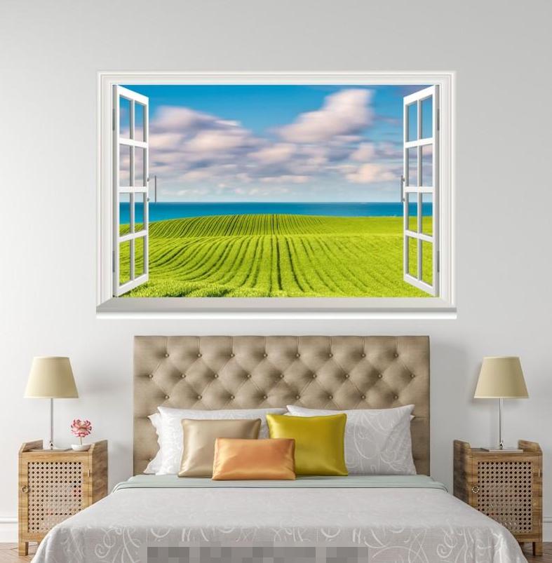 3D Paddy Grün Field 28 Open Windows WallPaper Murals Wall Print AJ Carly